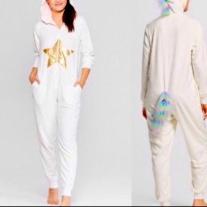 Hooded Unicorn Onesie White Size Small